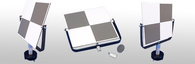 Schwenkbare Laserscanner-Zielmarkentafeln